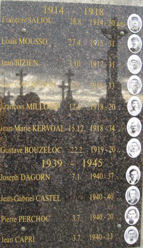Monument aux morts de Porspoder (Finistère), simple plaque fixée au mur du cimetière Source : David F., 2012